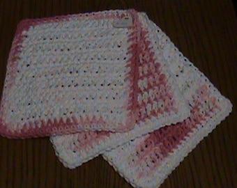 Hand made crochet Pink & White Dishcloths - Set of 3
