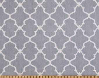 PADDED Ironing Board Cover with ELASTIC around EDGES made with gray with white trellis print, select your size