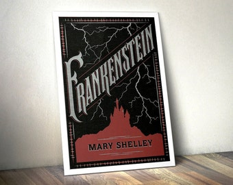 Frankenstein Print (Book Cover Posters) - Literary Poster, Literary Prints, Book Worm Gifts, Book Art