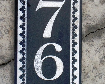 Black Granite address plaque custom carved 6 x 18""