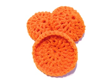 Orange Crocheted Nylon Netting Dish Scrubbies- Trio