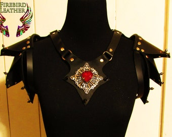 Leather Spike Epaulets and Harness- Shoulder Armor, Shoulder Pad Decorations, Leather Armor