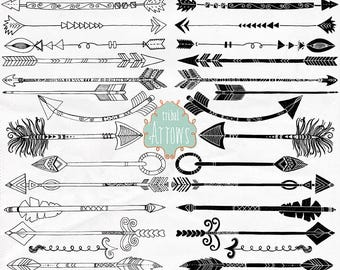 Boho Arrows Clipart, Tribal Design, Arrow ClipArt Doodle, Hand Drawn Arrow LineArt + Silhouette, Instant Download PNG Graphic Design
