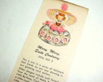Vintage Hallmark Doll Card, No. 3, Book Mark, Mary, Mary Quite Contrary,  Hall Brothers, 1947, No. 2  (480-13)