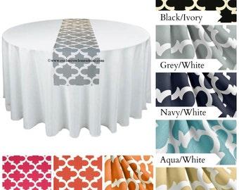 Modern Quatrefoil Table Runner Centerpiece Wedding Home Decor Lattice Trellis Gray Yellow Coral Orange Fuchsia Table Runner Fabric Linens