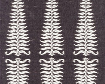 Fern Leaf Custom Made Drapes Schumacher Fern Tree Ivory Grey Flannel Lining Blackout Lined Interlined Double Pinch Pleat Curtain Euro Pleat