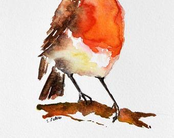 ORIGINAL Watercolor Bird Painting, Robin Illustration, Christmas Bird 6x8 Inch