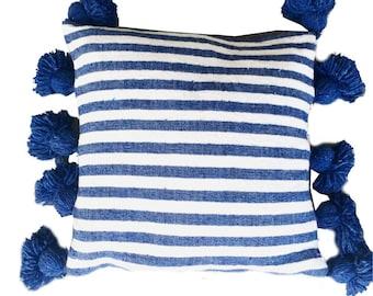 Striped Moroccan cotton pillow cover - COBALT BLUE WHITE