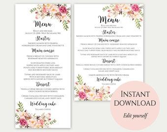 Wedding Menu Printable, Wedding Menu Template, Wedding Menu, Dinner Menu, Printable Menu, Editable Template, Floral Menu, PDF Download, C1
