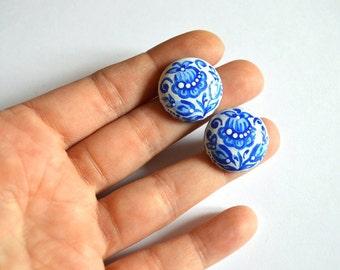 Blue Stud Earrings Paint jewelry Handmade wedding earrings wood Boho earrings bridesmaids Gifts idea fo her round earrings Art Gift for her