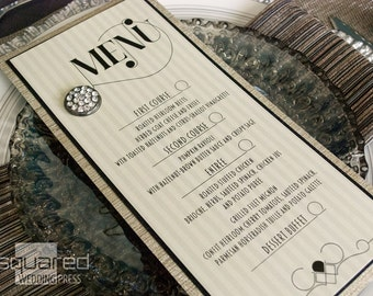 Art Deco Bespoke Menu Cards - SAMPLE - Luxe Black & Champagne Gold Wedding Reception Menus, Custom Design Wedding Reception Decor LECLAIR