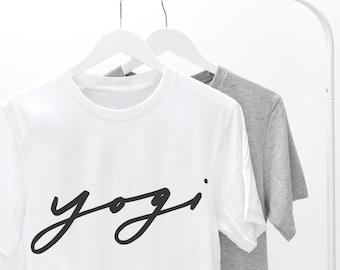 Yogi Unisex Tshirt - yoga tee - yoga t shirt -  typography t shirt - yogi t shirt - slogan t shirt - love yoga