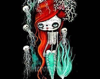 Sugar Skull Print Cute Dead Mermaid Skeleton Wall Art