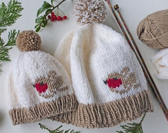 Winter Robin Hat KNITTING PATTERN in pdf | Baby to adult sizes Robin beanie hat to knit for Christmas, Winter or DIY gift | Instant download