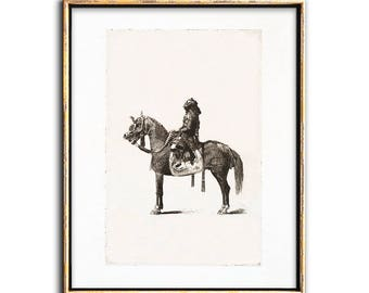 Sepia Print, Gallery Decor, Horse Art, Japanese Horseman Print, Vintage, 19th-Century, Etching, Printable Art, Gallery Wall Print, Wall Art