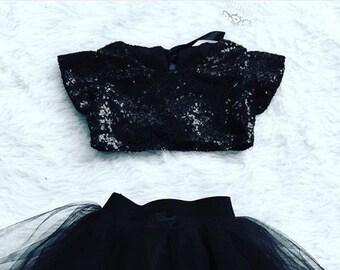 Audrey Hepburn Inspired Black Sequin Baby Crop Top