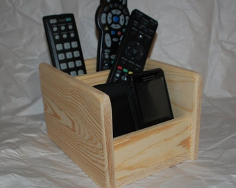 Wood Remote Control Caddy Phone Charging Station