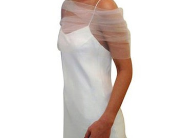 Tulle Shear Coverup Shrug Wedding White Ivory Blush