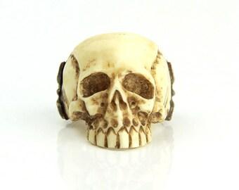 Skull ring handmade from real bone & 925 silver gr 62