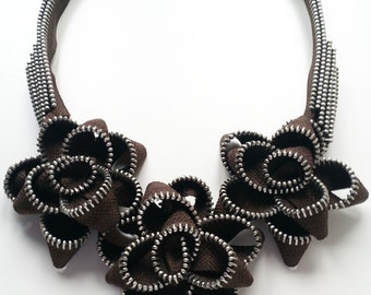The Chocholate Roses Zipper Necklace
