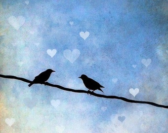 Love Birds Art Print, Birds on a Line, Lovers, Nature, Blue Sky, Valentine's Day Gift, Home Decor, Romance, Couple, Hearts - Love Birds