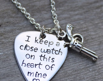 I Keep a Close Watch on This Heart of Mine Necklace - Stainless Steel Guitar Pick Necklace with Pistol Charm - Johnny Cash Guitar Pick
