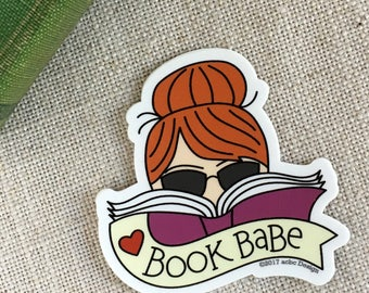 Book Babe Redhead Vinyl Sticker / Reader Gift / Modern Sticker / Laptop Sticker / Girl Sticker / Cute Bookworm Sticker / Waterproof Sticker