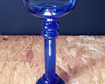 Vintage Blue Glass Vase/ Flower Holder/ Centerpiece/ Candle Holder/ Home Decor / Accent Piece / Free Shipping