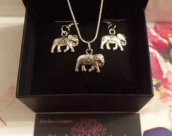 Stunning Silver Indian Elephants Necklace & Earrings Set. All Handmade.