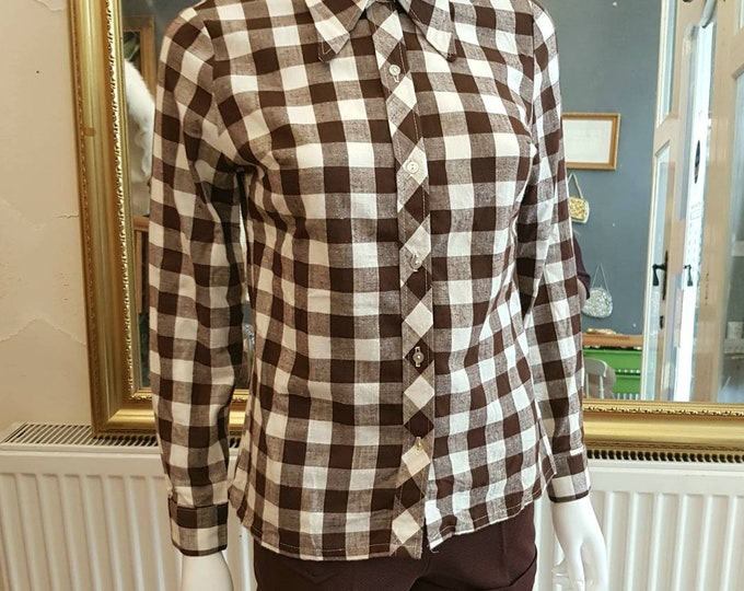 Vintage 70s new old stock Check Plaid Briwb White Dagger Collar Cotton Shirt 36 Bust