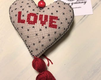 cross stitched love heart