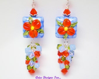 Poppy's and Polka Dot Earrings in Red and Periwinkle Blue,Long Lampwork Clusrter Earrings