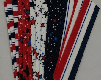Stars and Stripes Fabric Washi Tape, 15 strips
