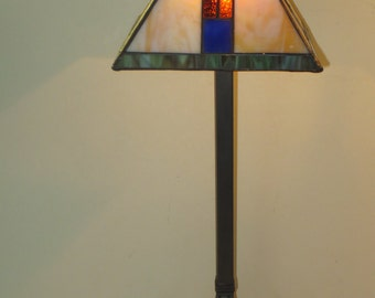 Mission table lamp etsy tiffany style mission stained glass table lamp with metal base aloadofball Images