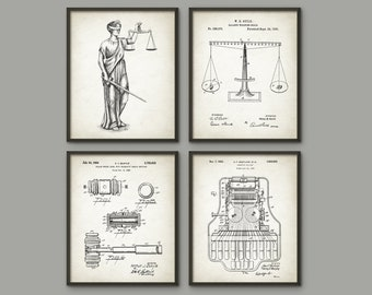 Attorney Office Set Of 4 Prints, The Lady Justice, Law, Stenotype Machine, Lawyer, Solicitor, Barrister, Judge, Court, American Legal System