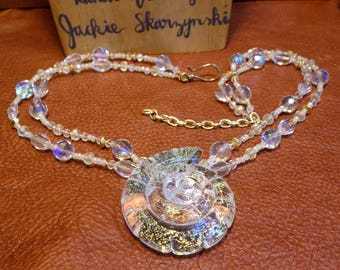 Artist Made Clear Gold Flecked Glass Nautilus Shell Pendant WIth Vintage Crystal Chain