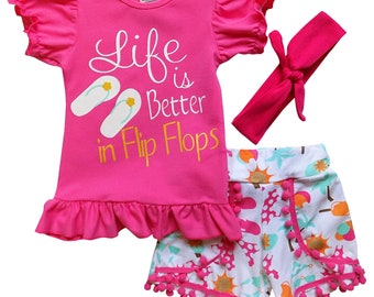 Life is Better in Flip Flops - 3 Piece Shorts & T-Shirt Top Set by So Sydney - Girls Toddler Novelty Summer Ruffle Shorts Outfit