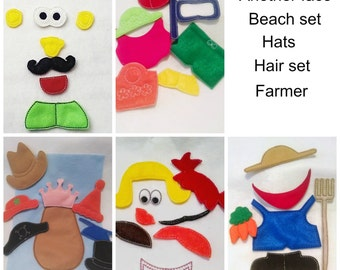 Mr or Mrs Potato head addon pieces buy one set or several sets  felt mat game educational game learning toy Eco-Friendly felt #3810
