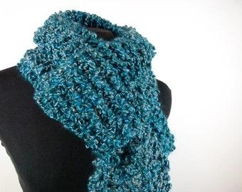 Warm Chunky Hand Knit Scarf of Vegan Bouclé Yarn in Ocean Blue - Item 1367