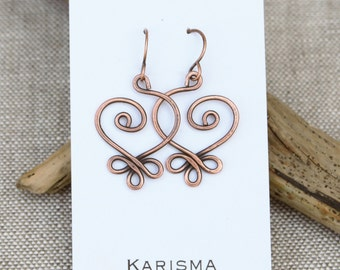 Celtic Heart Earrings, Copper, Wire Jewelry