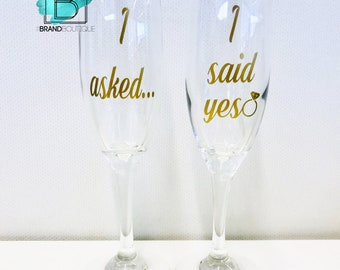 I Asked, I Said Yes! | Engagement Champagne Flutes | Set of 2