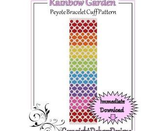 Bead Pattern Peyote(Bracelet Cuff)-Rainbow Garden