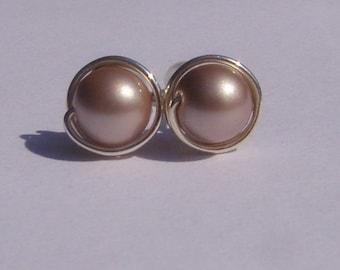 Powder Almond Pearl Stud Earrings (8mm), Swarovski Pearl Stud Earrings, Wire Wrapped Sterling Silver Stud Earrings, Champagne Stud Earrings