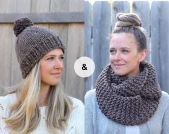 Knitted Hat and Scarf Set in Barley Brown- Cozy Wool Beanie and Infinity Scarf