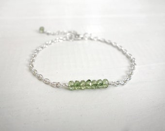 Dainty chain bracelet sparkly green beads stylish layering bracelet green bead bracelet for women