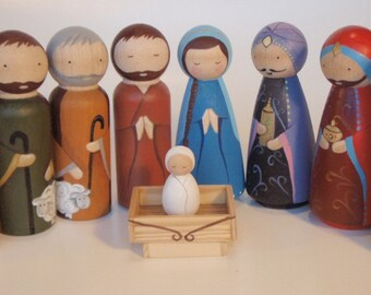 Hand painted wooden peg doll nativity set // wooden nativity set // christmas pegs