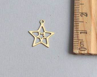 SALE, Star Charm, Open Star Charm, Gold plated Star Charm, Christmas Star charm, Gold Outline Star Charm, Gold Star Pendant, 13mm (1 piece)