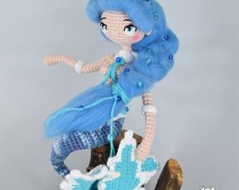 Sirena, muñeca sirena, sirenita, muñeca articulada, muñeca kawaii, sirena amigurumi, muñeca ooak, muñeca amigurumi, sirena muñeca