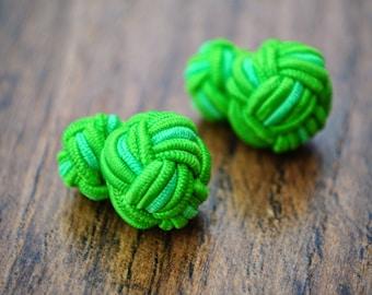 Silk Knot Cufflinks - Lime Green and Light Lime