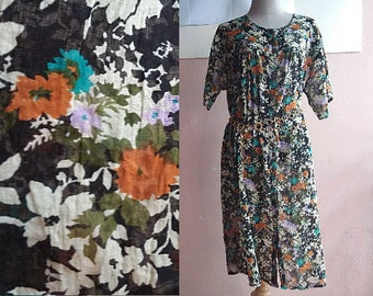 Free Size - 90s Indian Gauze Dress - Summer Cotton Midi Tent Dress -  Blue Green Flower Paisley Print Dress - Plus Size - Maternity